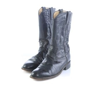 Justin Womens Black Leather Roper Cowboy Boots